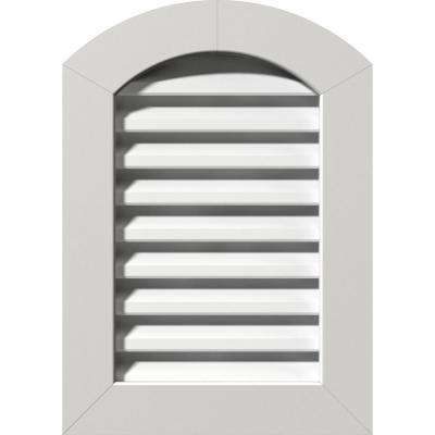 17 in. x 35 in. PVC Functional Arch Top Gable Vent with Flat Trim Frame Unfinished (12 in. x 30 in. Rough Opening)