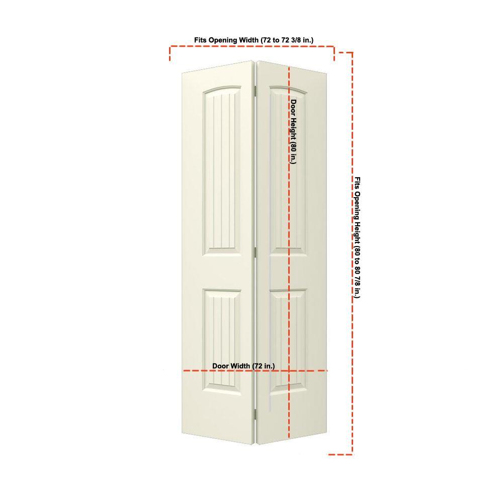 36 in. x 80 in. Santa Fe Vanilla Painted Smooth Molded Composite MDF Closet Bi-fold Double Door