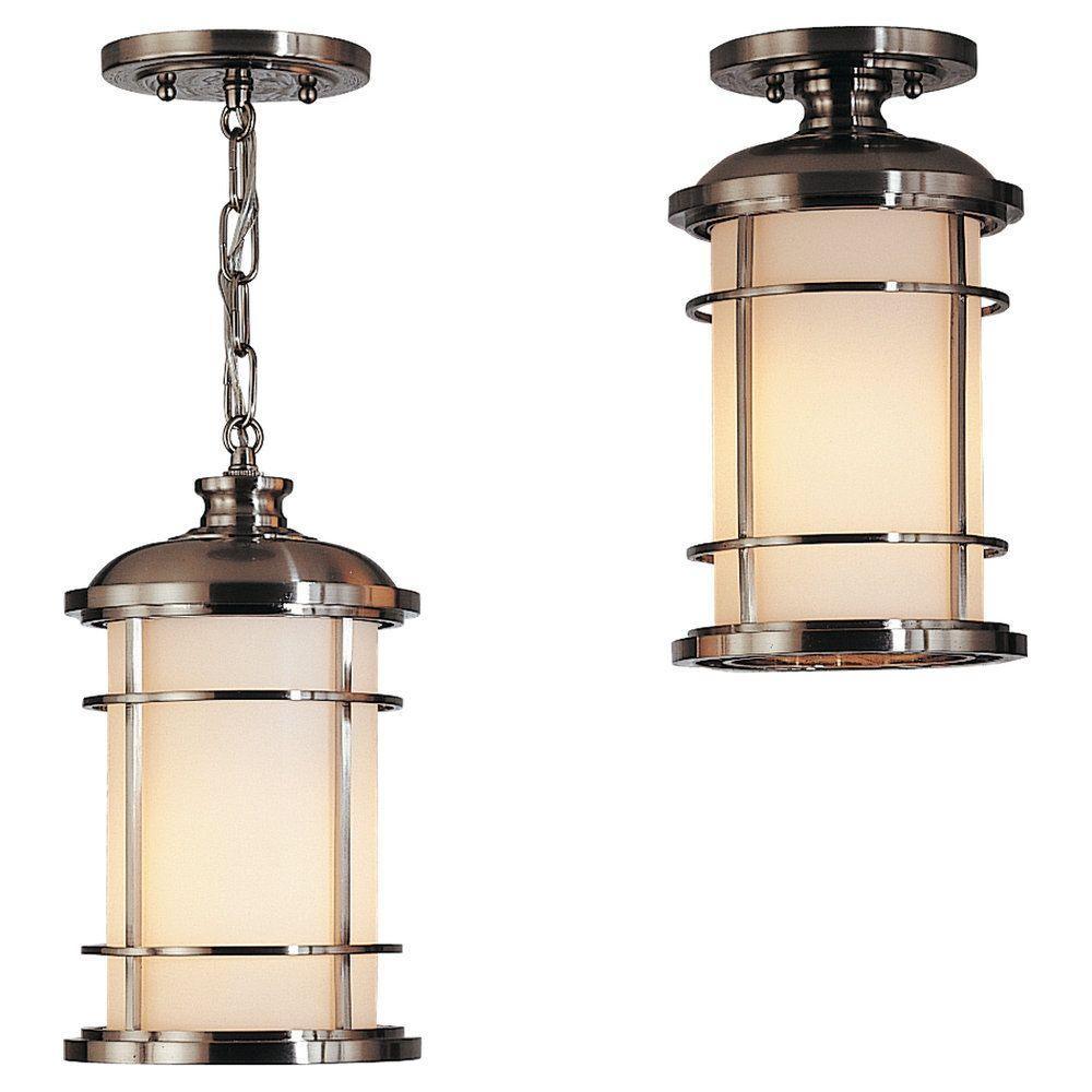 Lighthouse 1-Light Brushed Steel Outdoor Hanging Pendant
