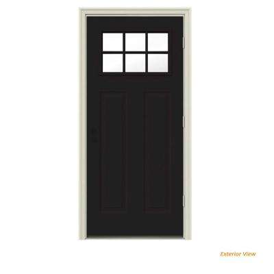30 in. x 80 in. 6 Lite Craftsman Black w/ White Interior Steel Prehung Left-Hand Outswing Front Door w/Brickmould