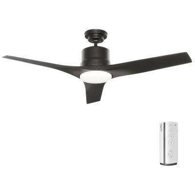 Piston 52 in. LED Indoor/Outdoor Matte Black Ceiling Fan