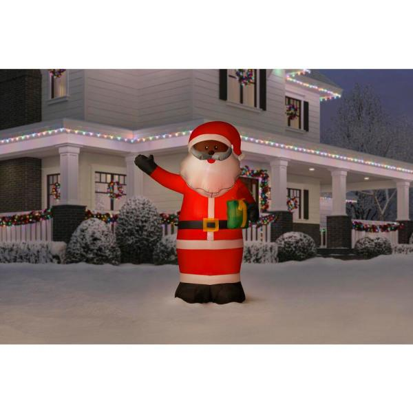 Home Accents Holiday 6 5 Ft Led Outdoor Inflatable Black Santa 118093 The Home Depot