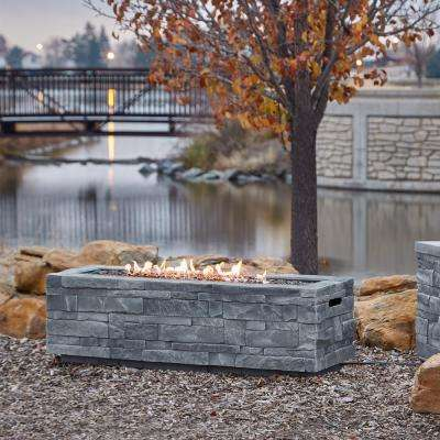Ledgestone 48 in. x 15 in. Rectangle Fiber Concrete Propane Fire Pit Table in Gray Ledgestone with NG Conversion Kit