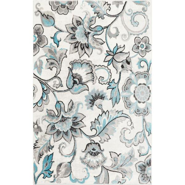 Boho Ivory/Blue 2 ft. x 3 ft. Indoor Area Rug