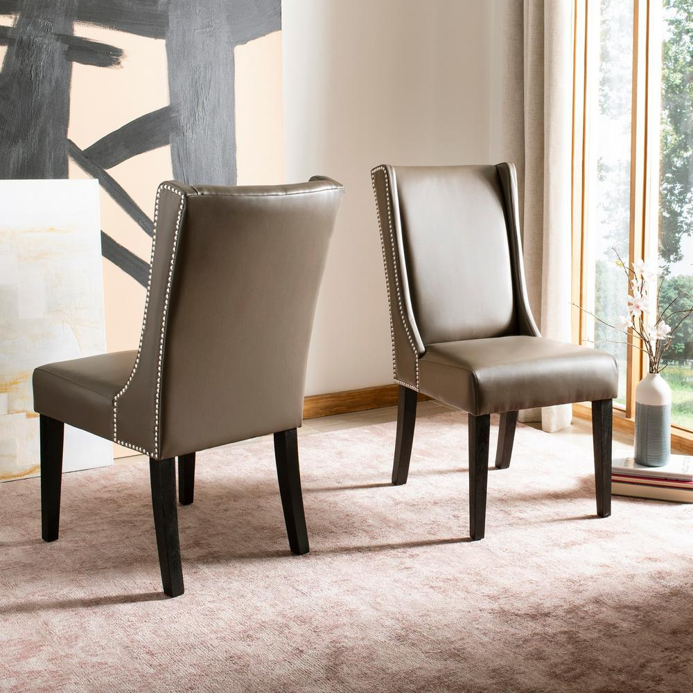 Safavieh Leather Dining Chairs: Safavieh Sher Clay/Espresso Bicast Leather Side Chair (Set