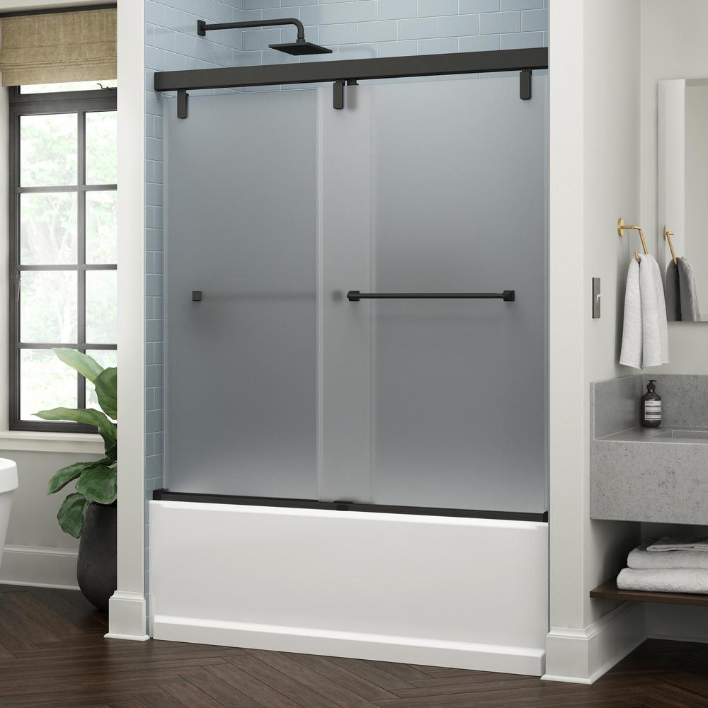 Everly 60 in. x 59-1/4 in. Mod Semi-Frameless Sliding Bathtub Door in Matte Black and 3/8 in. (10mm) Niebla Glass
