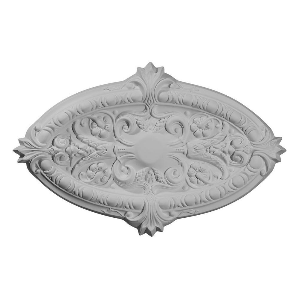 Ekena Millwork 1 3 4 In X 26 3 8 In X 17 1 4 In Polyurethane Marcella Ceiling Medallion Moulding Cm26mruwf The Home Depot
