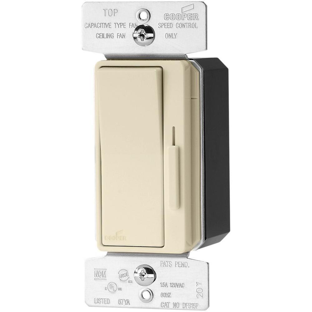 Core Devine 1.5 Amp 120-Volt Single-Pole 3-Speed Fan Control with Preset, Almond