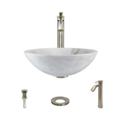 Stone Vessel Sink in Honed Basalt White Granite with 726 Faucet and Pop-Up Drain in Brushed Nickel