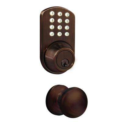 Oil Rubbed Bronze Keyless Entry Deadbolt and Door Knob Lock Combo Pack with Electronic Digital Keypad
