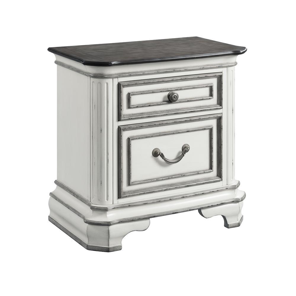 Caroline Antique White 2-Drawer Nightstand