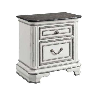 Caroline Antique White 2-Drawer Nightstand
