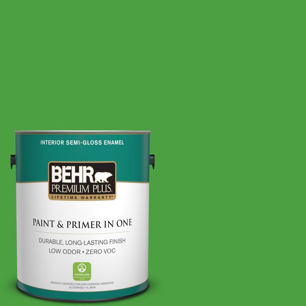 1-gal. #S-G-440 Green Acres Zero VOC Semi-Gloss Enamel Interior Paint