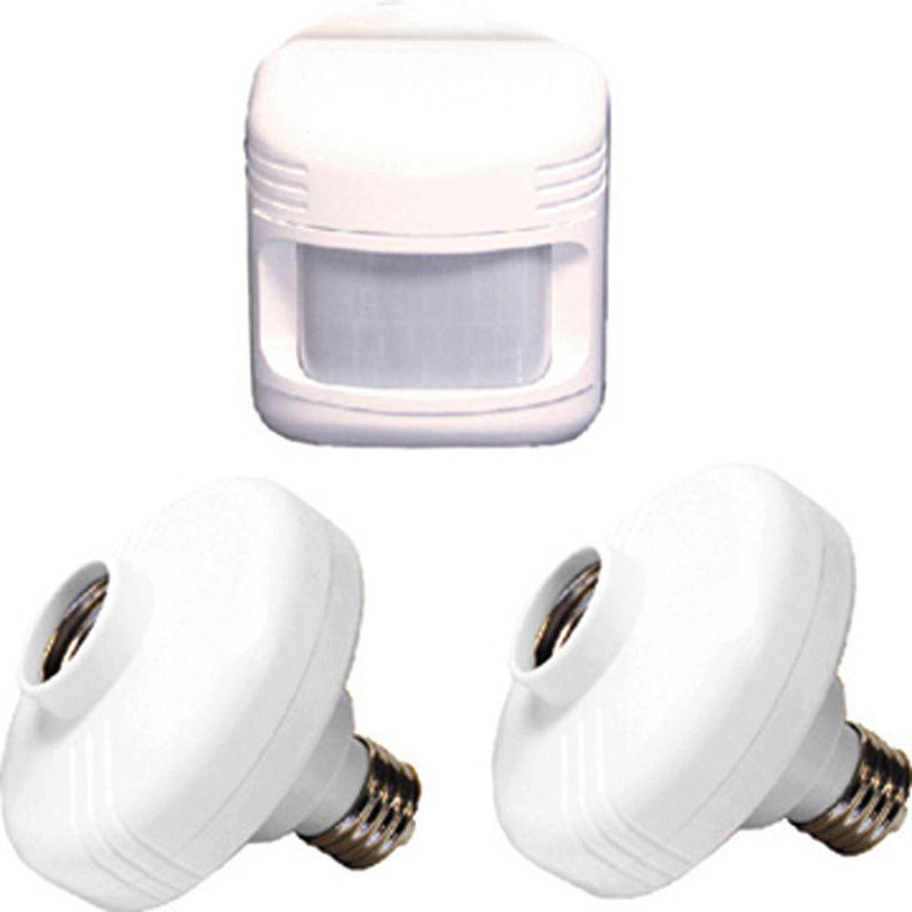 Defiant 180° White Sensor with Motion Outdoor Light with Adapters