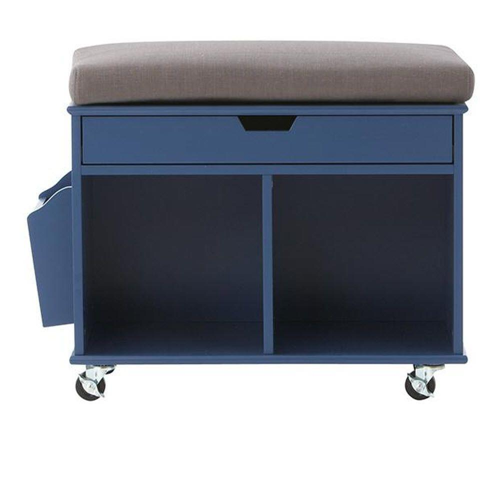 Home Decorators Collection Avery 2-Cube MDF Mobile Cart in Sapphire