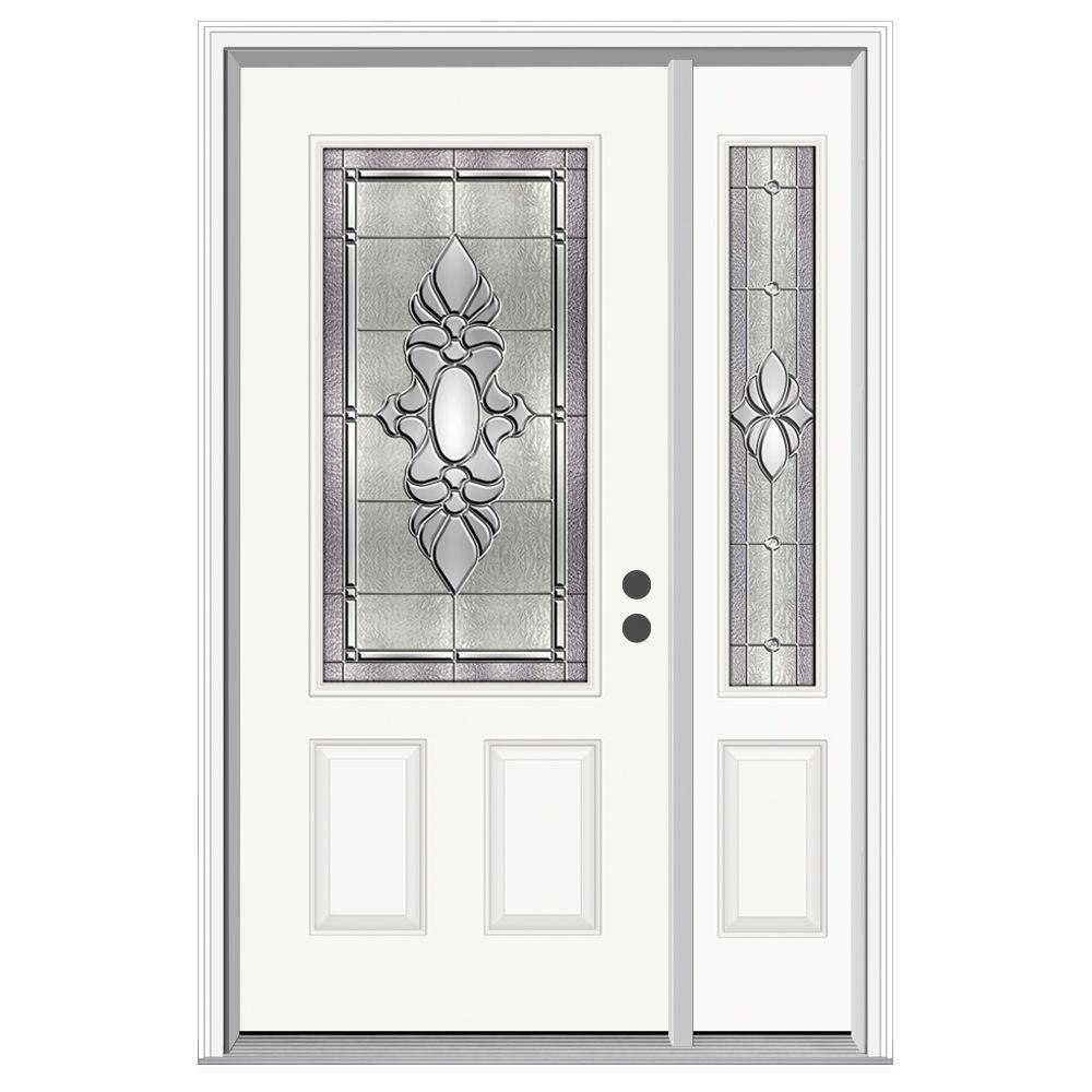 Jeld wen 52 in x 80 in 3 4 lite langford primed steel for Jeld wen front entry doors