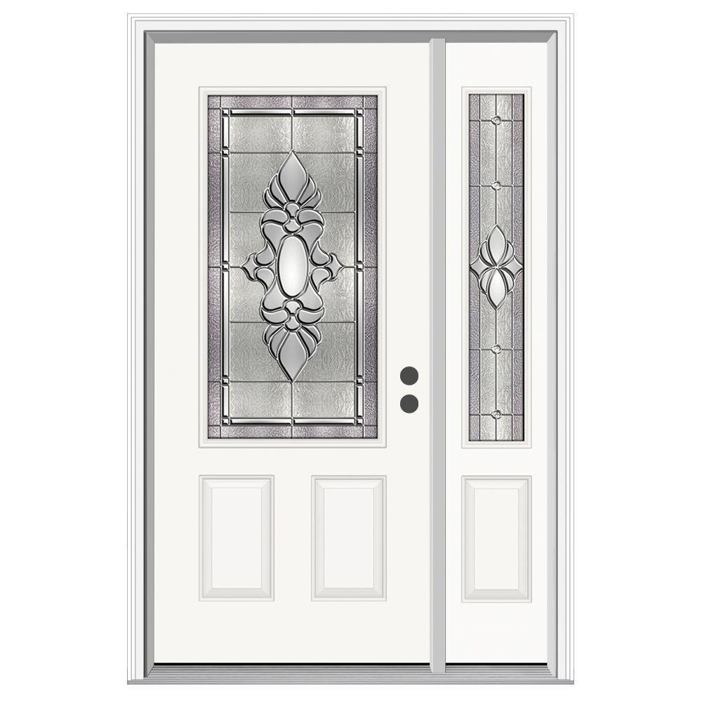 52 in. x 80 in. 3/4 Lite Langford Primed Steel Prehung Left-Hand Inswing Front Door with Right-Hand Sidelite