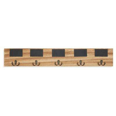 Rustic Wall Mount Coat Rack with 5-Hooks and Chalkboard Tags