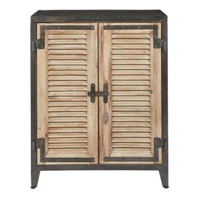 Marbella Beach and Rustic Metal Console with 2-doors