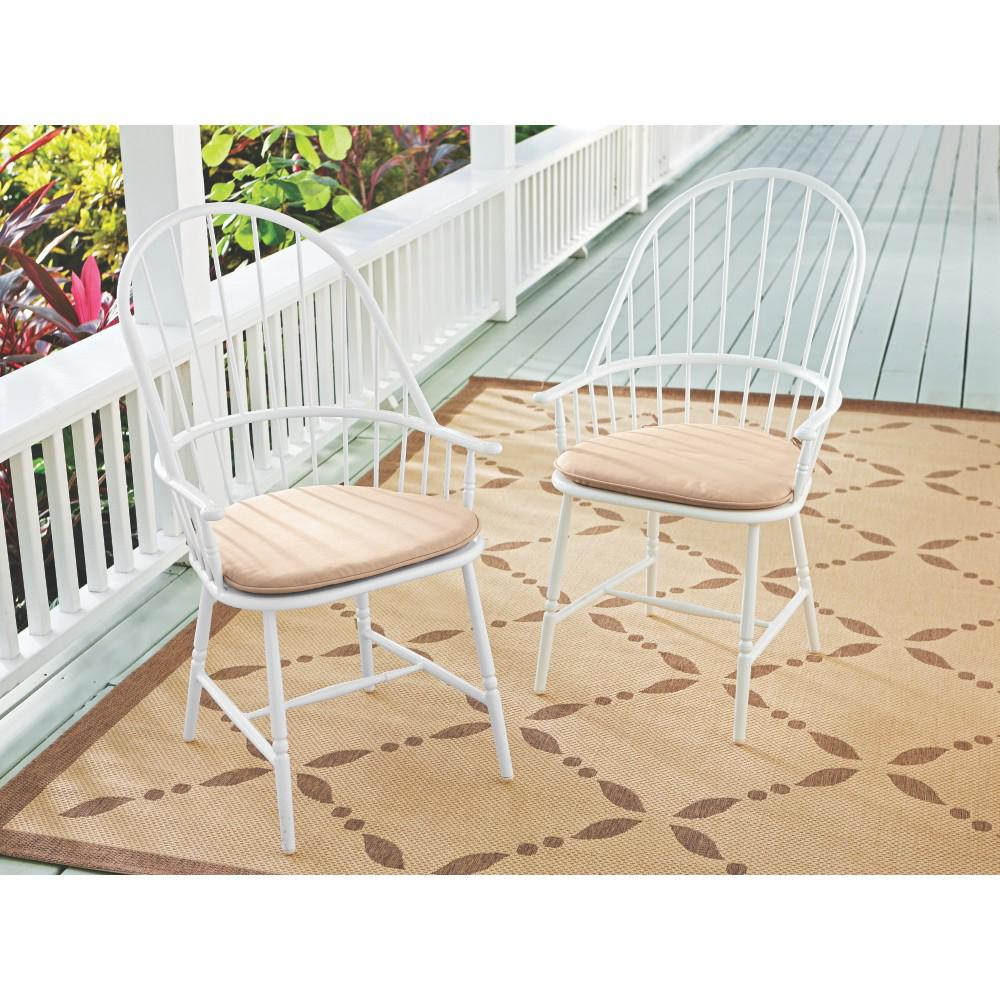 Blue Hill White Aluminum Outdoor Dining Chairs With Beige/Tan Cushion  (2 Pack