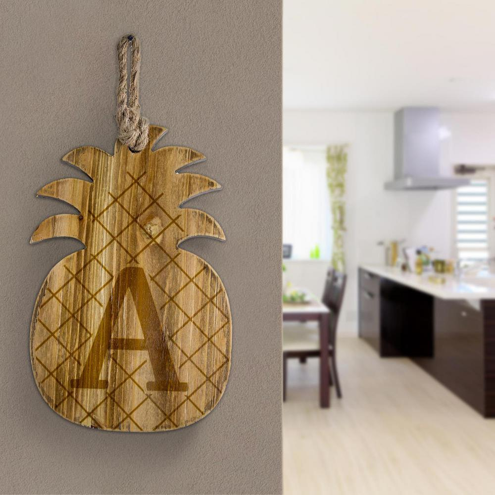 wood pineapple hanging initial wall letter