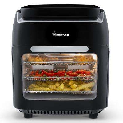 Premium 10.5 Qt. BPA FREE Compact Countertop Digital Air Fryer Oven Rotisserie & Dehydrator with 3 Cooking Trays - Black