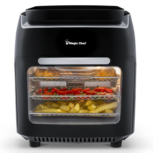10.5 Qt. Air Fryer, Rotisserie, Dehydrator and Convention Oven with 3 Cooking Trays and Easy to Clean Drip Tray - Black