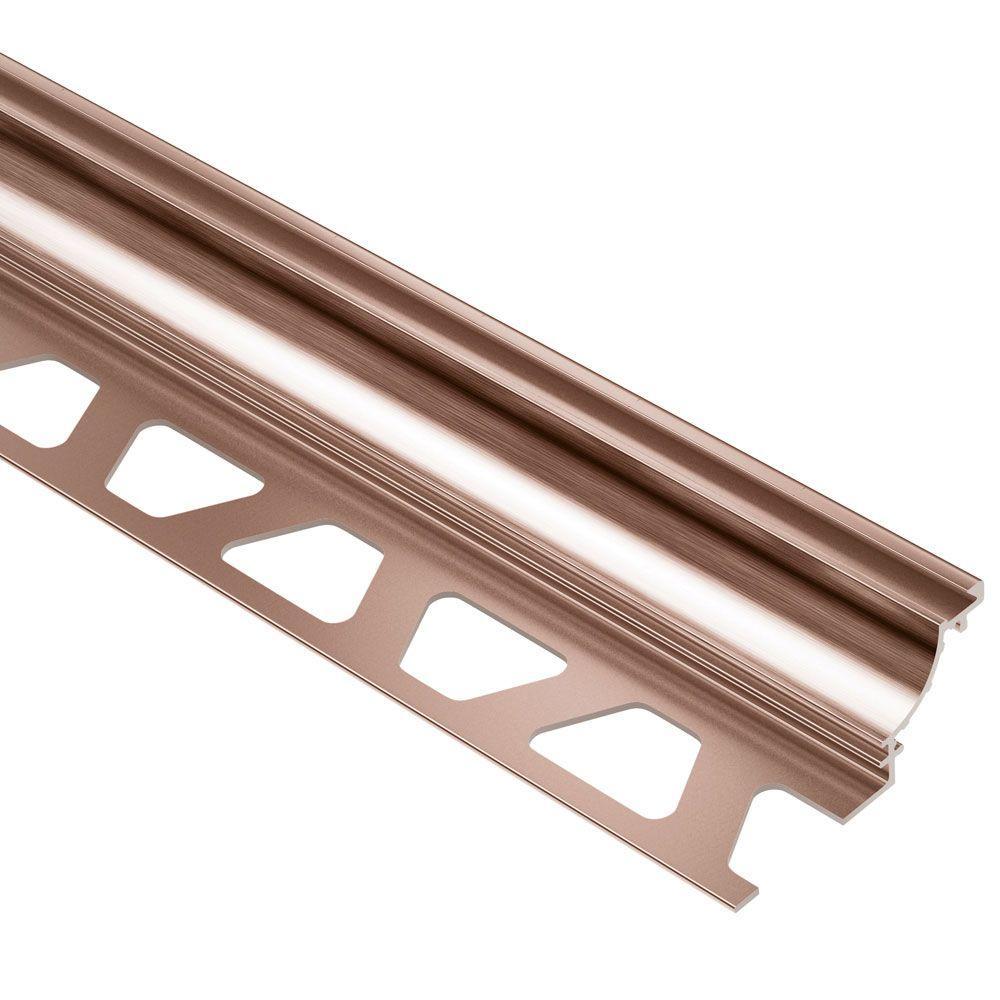 Schluter Dilex-AHK Brushed Copper Anodized Aluminum 5/16 in. x 8 ft. 2-1/2 in. Metal Cove-Shaped Tile Edging Trim