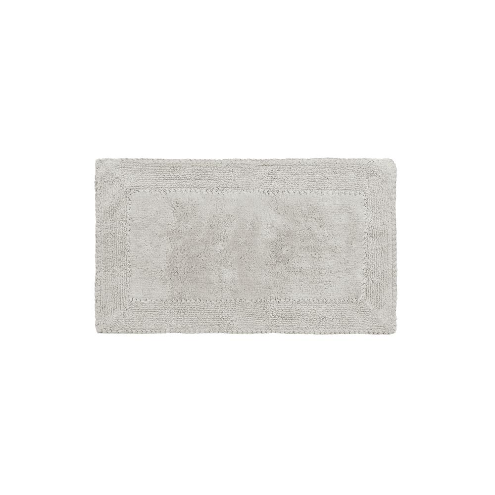 20 in. x 34 in. Light Gray Cotton Ruffle Bath Rug