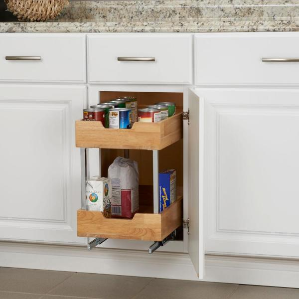 Design Trends 11 5 In 2 Tier Pull Out Wood Cabinet Organizer 24221 1 The Home Depot