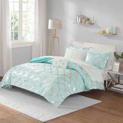 Kaylee 8-Piece Aqua Full Bed in a Bag Set