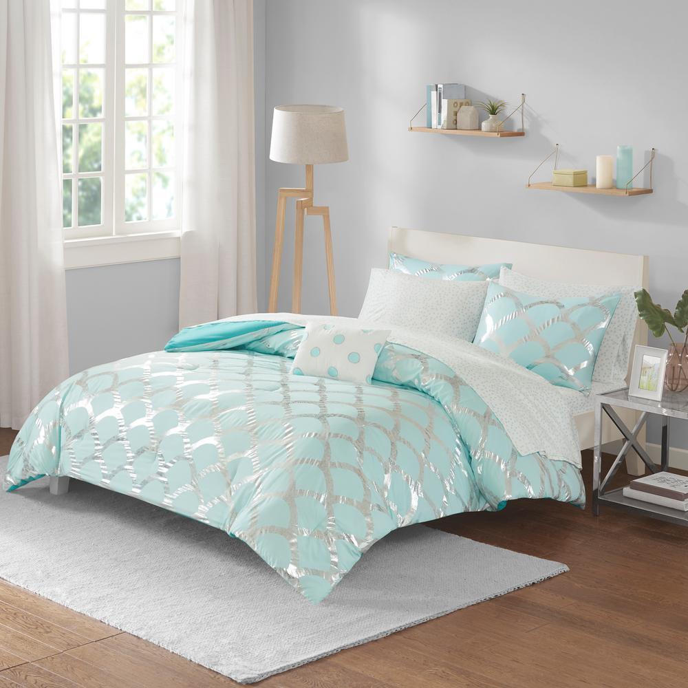 Kaylee 8-Piece Aqua Queen Geometric Comforter Set