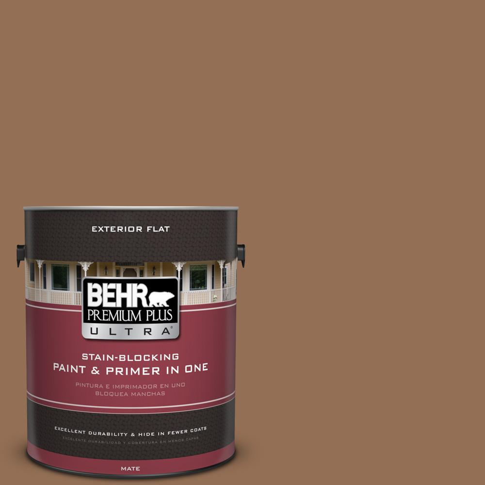 BEHR Premium Plus Ultra 1 gal. #UL140-21 Toffee Bar Flat Exterior Paint
