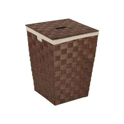 Woven Hamper with Liner in Brown