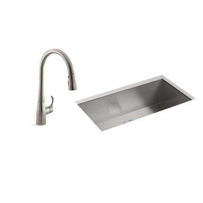 Lyric All-in-One Undermount Stainless Steel 32 in. Single Bowl Kitchen Sink with Simplice Faucet in Vibrant Stainless