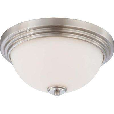 2-Light Brushed Nickel Flush Mount Dome Fixture with Satin White Glass Shade