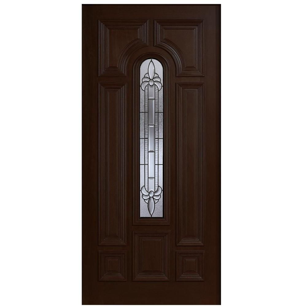 Main Door 36 in. x 80 in. Mahogany Type Arch Glass Prefinished Espresso Beveled Patina Solid Stained Wood Front Door Slab