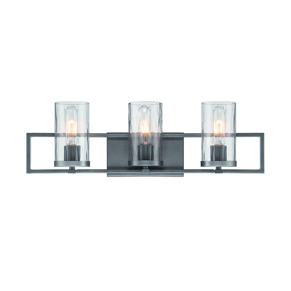 Elements 3-Light Charcoal Interior Incandescent Bath Vanity Light