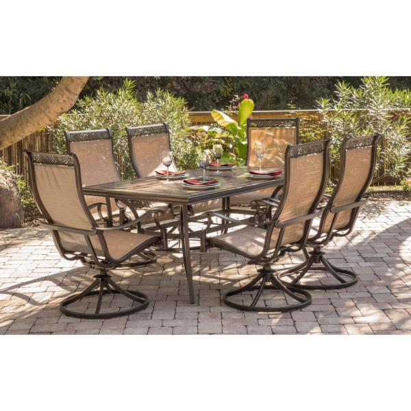Hanover Monaco 7 Piece Aluminum Outdoor Dining Set With Rectangular Tile Top Table And Contoured Sling Swivel Chairs Mondn7pcsw 6 The Home Depot