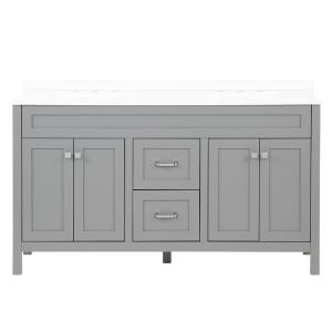 Maywell 60.5 in. W x 18.75 in. D Bath Vanity in Sterling Gray with Cultured Marble Vanity Top in White with White Basin