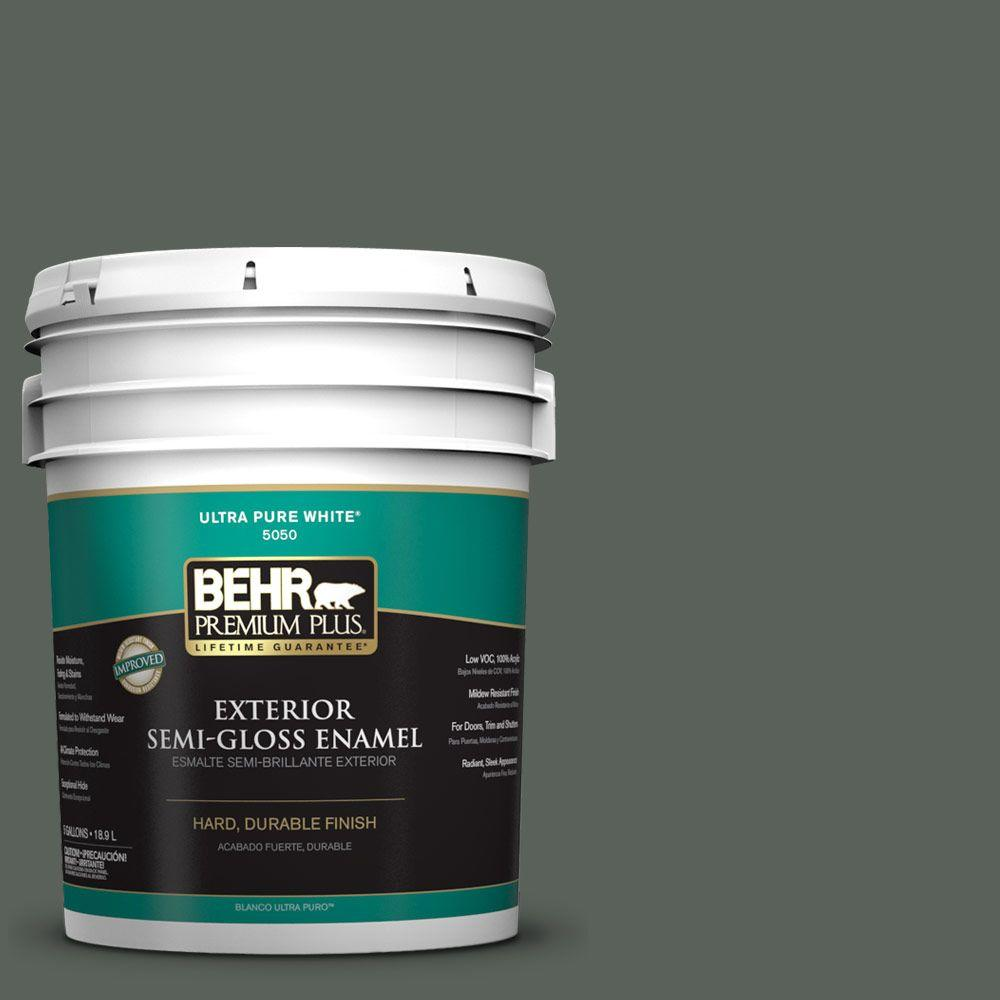 5-gal. #PPF-45 Woodland Moss Semi-Gloss Enamel Exterior Paint