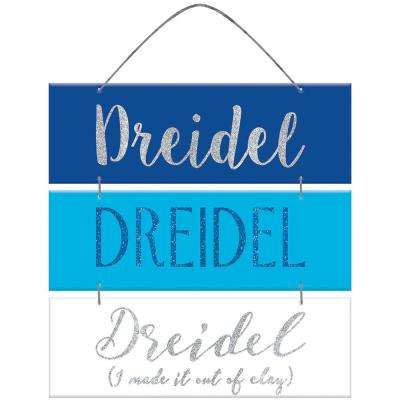 13 in. x 12 in. Dreidel MDF Glitter Sign (4-Pack)