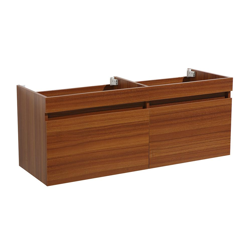 Modern Wall Hung Double Sink Bath Vanity Cabinet Only In Teak