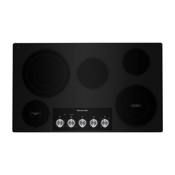 36 in. Radiant Electric Cooktop in Black with 5-Elements and Knob Controls