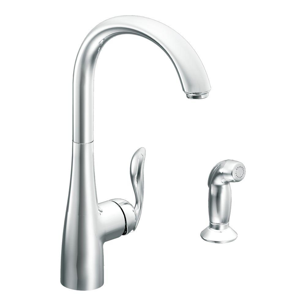 moen arbor high arc single handle standard kitchen faucet with side sprayer in spot resist stainless 7790srs the home depot