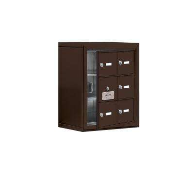 19100 Series 17.5 in. W x 20 in. H x 9.25 in. D 5 Doors Cell Phone Locker Surface Mount Keyed Lock in Bronze