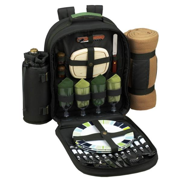 Eco Collection Deluxe Equipped 4-Person Picnic Backpack with Blanket