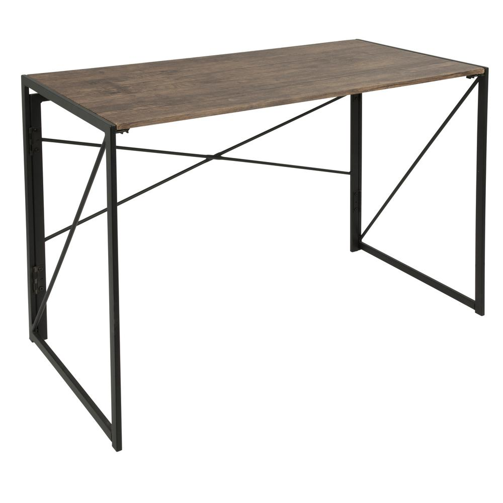 Lumisource Dakota Brown Wood Black Metal Desk Black Brown Image