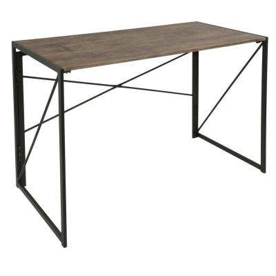 Dakota Brown Wood and Black Metal Desk