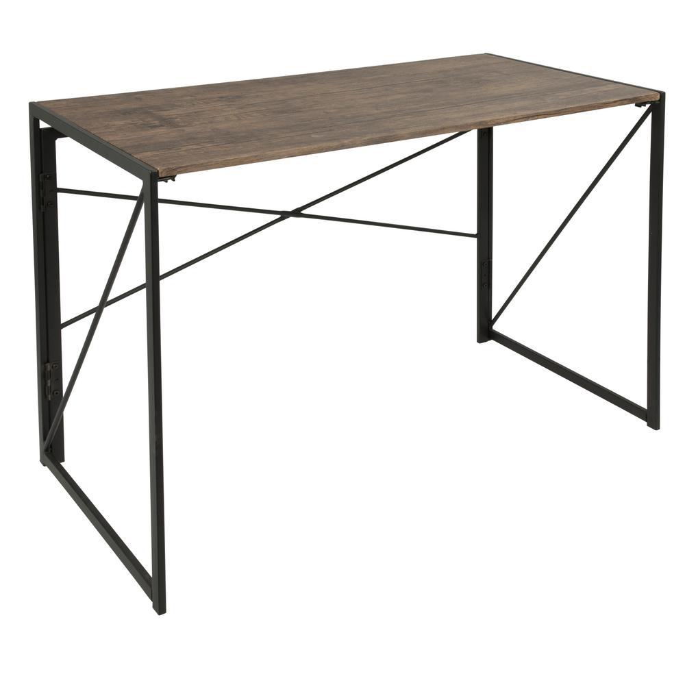Dakota Brown Wood and Black Metal Desk